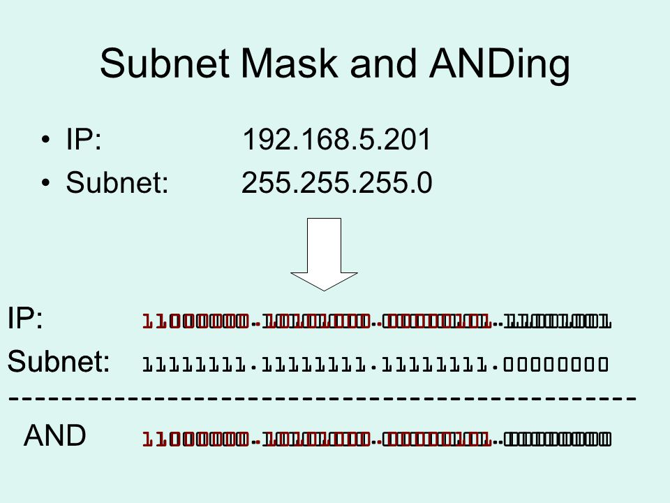 Subnet Mask and ANDing IP:192.168.5.201 Subnet: 255.255.255.0 IP: 11000000.10101000.00000101.11001001 Subnet: 11111111.11111111.11111111.00000000 ----------------------------------------------- 11000000.10101000.00000101.00000000 AND IP: 11000000.10101000.00000101.11001001 Subnet: 11111111.11111111.11111111.00000000 ----------------------------------------------- 11000000.10101000.00000101.00000000