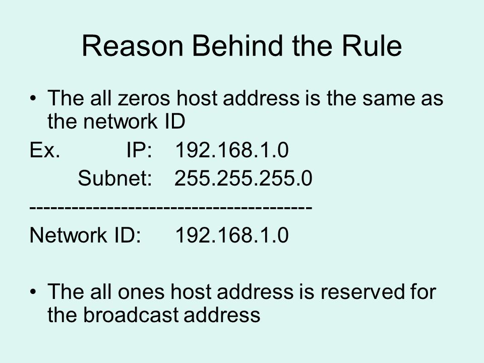 Reason Behind the Rule The all zeros host address is the same as the network ID Ex.IP:192.168.1.0 Subnet:255.255.255.0 ---------------------------------------- Network ID:192.168.1.0 The all ones host address is reserved for the broadcast address
