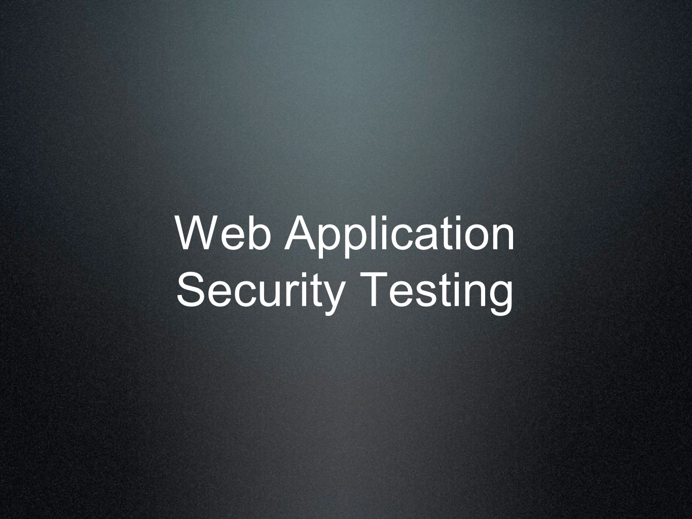 Web Application Security Testing