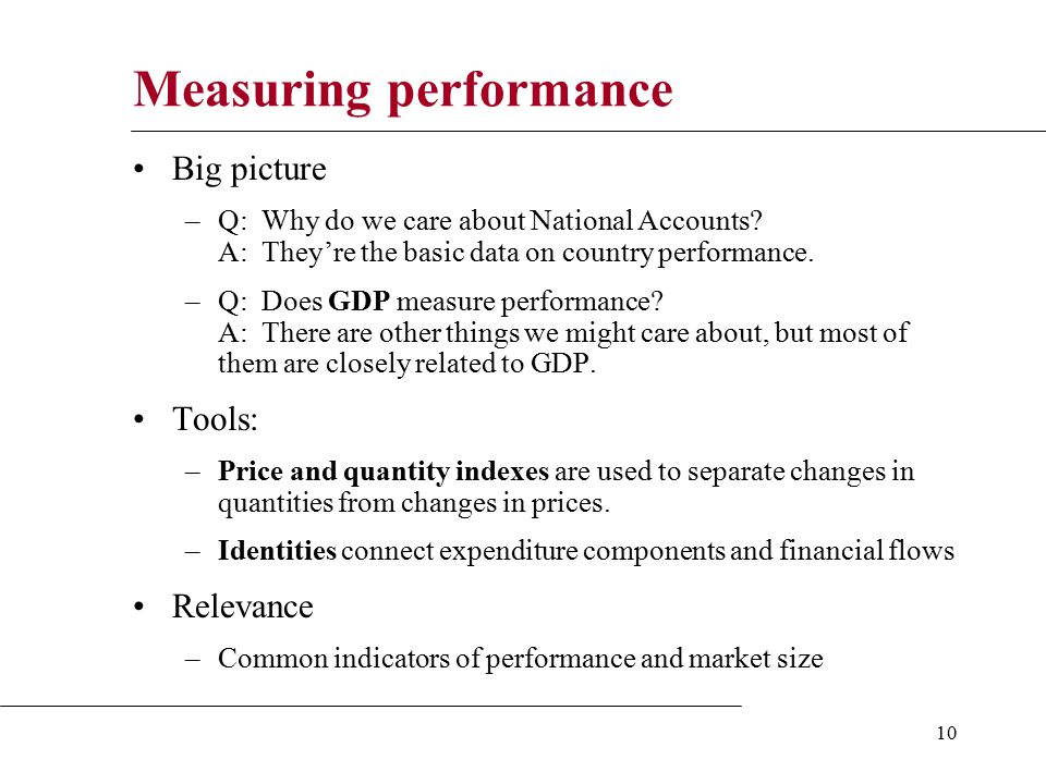 10 Measuring performance Big picture –Q: Why do we care about National Accounts.