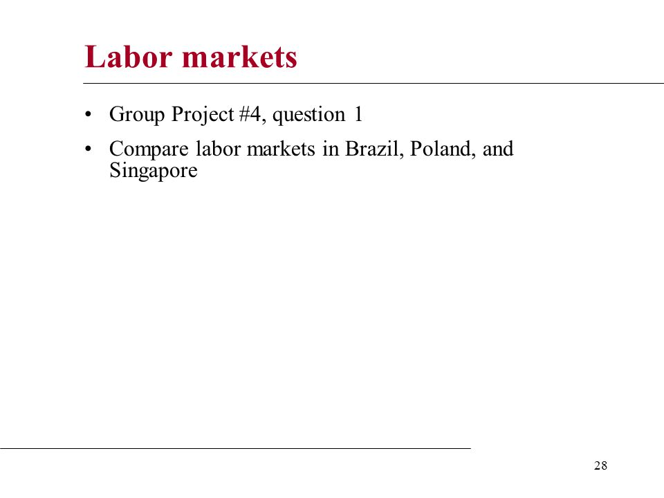 28 Labor markets Group Project #4, question 1 Compare labor markets in Brazil, Poland, and Singapore