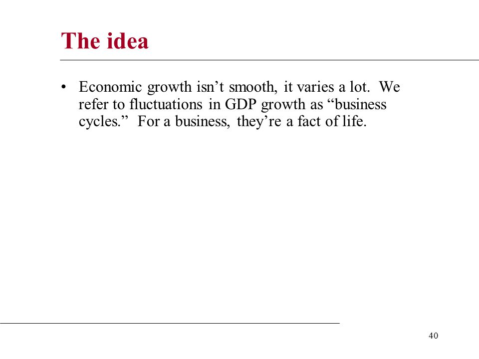 40 The idea Economic growth isn't smooth, it varies a lot.