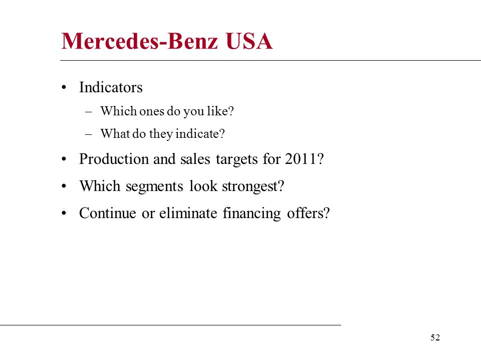 52 Mercedes-Benz USA Indicators –Which ones do you like.