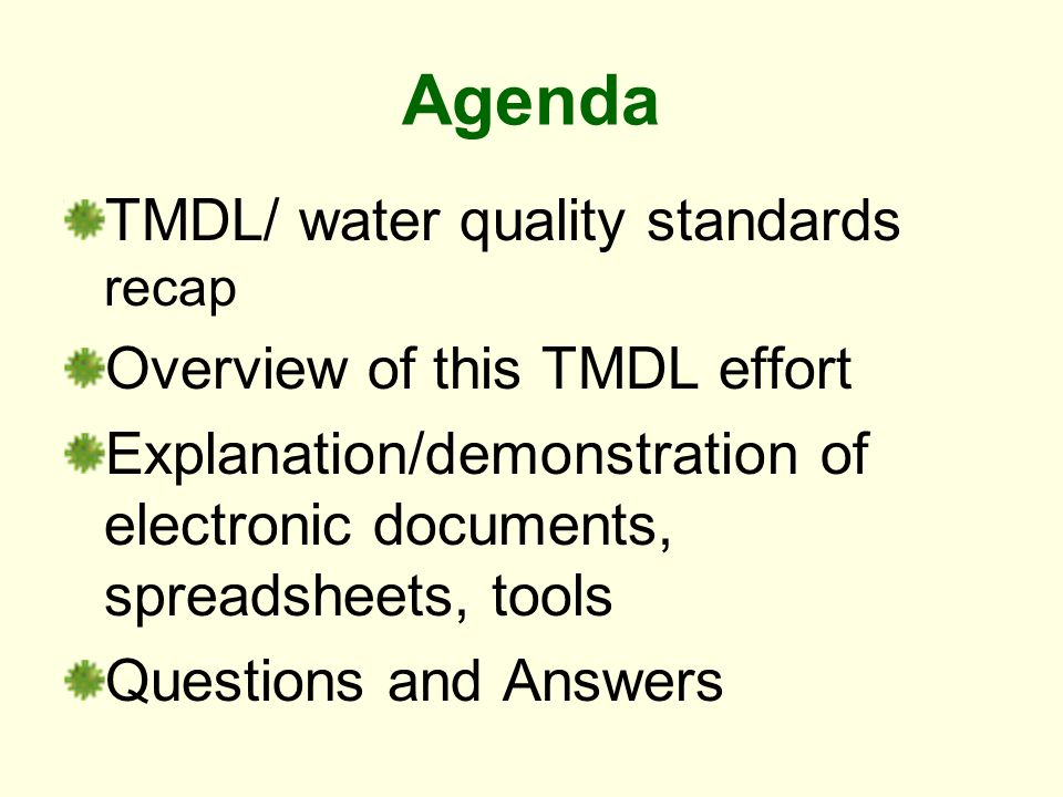 Agenda TMDL/ water quality standards recap Overview of this TMDL effort Explanation/demonstration of electronic documents, spreadsheets, tools Questions and Answers