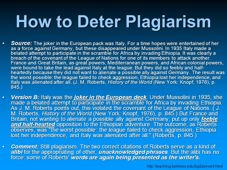 How to Deter Plagiarism Source: The joker in the European pack was Italy.