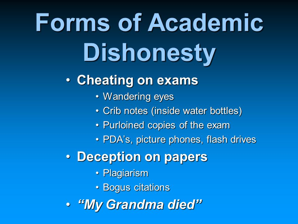 Forms of Academic Dishonesty Cheating on examsCheating on exams Wandering eyesWandering eyes Crib notes (inside water bottles)Crib notes (inside water bottles) Purloined copies of the examPurloined copies of the exam PDA's, picture phones, flash drivesPDA's, picture phones, flash drives Deception on papersDeception on papers PlagiarismPlagiarism Bogus citationsBogus citations My Grandma died My Grandma died