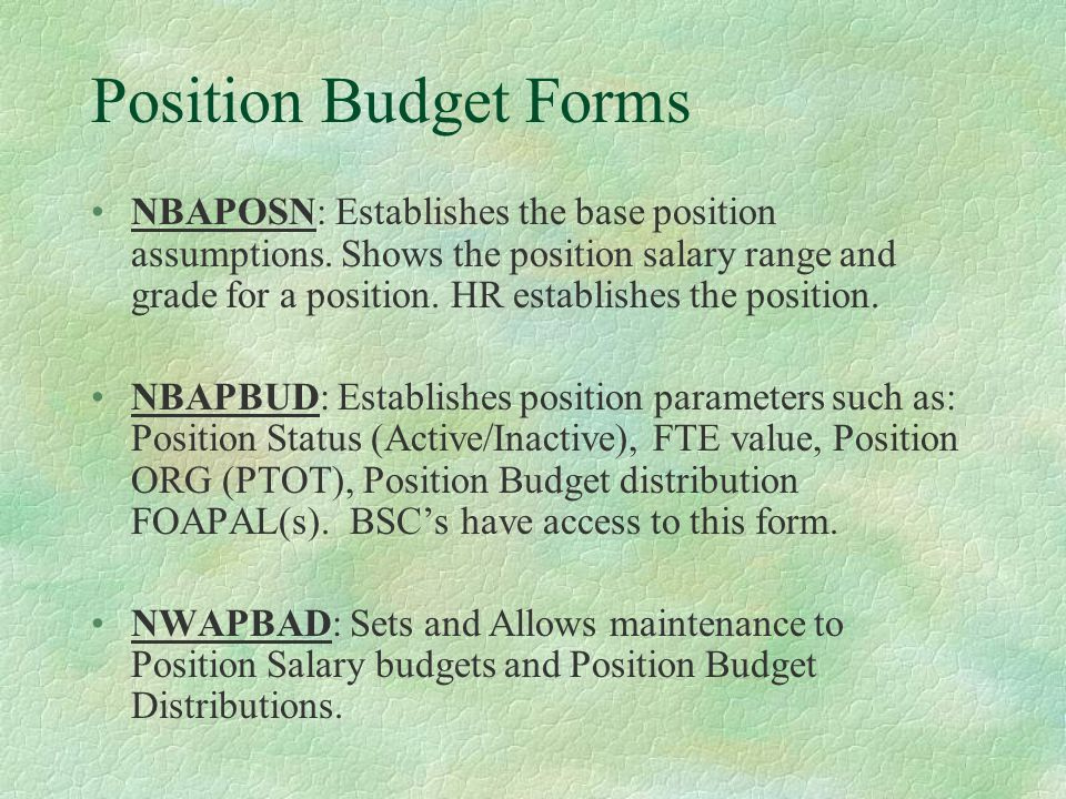 Position Budget Forms NWIPBHS & NWISPBH: Target (NWIPBHS) and Source (NWISPBH) Position Budget Adjustment History.