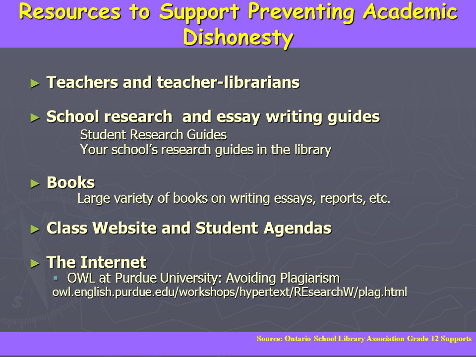 Resources to Support Preventing Academic Dishonesty ► Teachers and teacher-librarians ► School research and essay writing guides Student Research Guides Student Research Guides Your school's research guides in the library Your school's research guides in the library ► Books Large variety of books on writing essays, reports, etc.