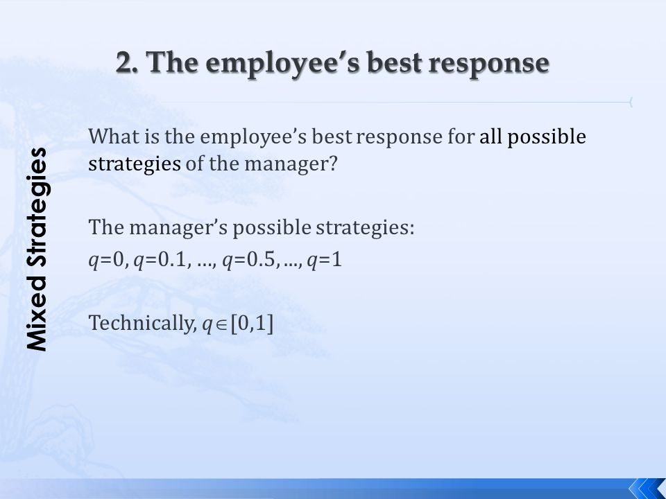 What is the employee's best response for all possible strategies of the manager? The manager's possible strategies: q=0, q=0.1, …, q=0.5,..., q=1 Tech