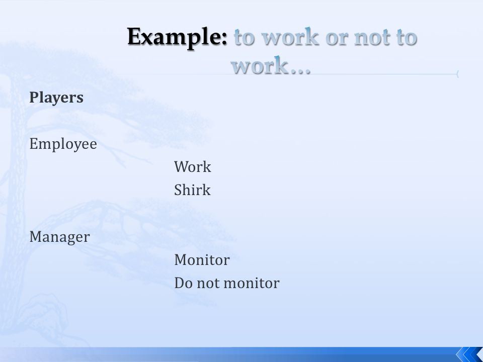 Players Employee Work Shirk Manager Monitor Do not monitor