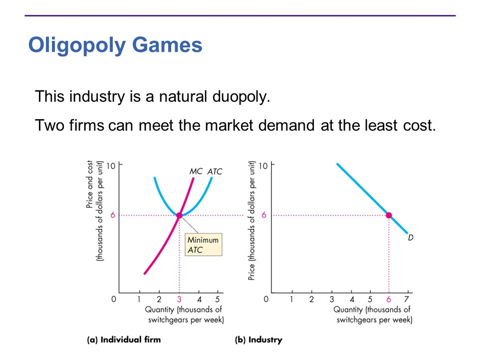 Oligopoly Games This industry is a natural duopoly.