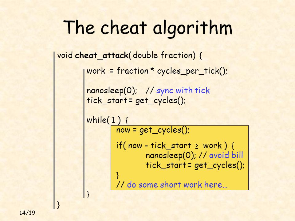 14/19 void cheat_attack( double fraction) { work = fraction * cycles_per_tick(); nanosleep(0);// sync with tick tick_start = get_cycles(); while( 1 ) { now = get_cycles(); if( now - tick_start ≥ work ) { nanosleep(0); // avoid bill tick_start = get_cycles(); } // do some short work here… } } The cheat algorithm