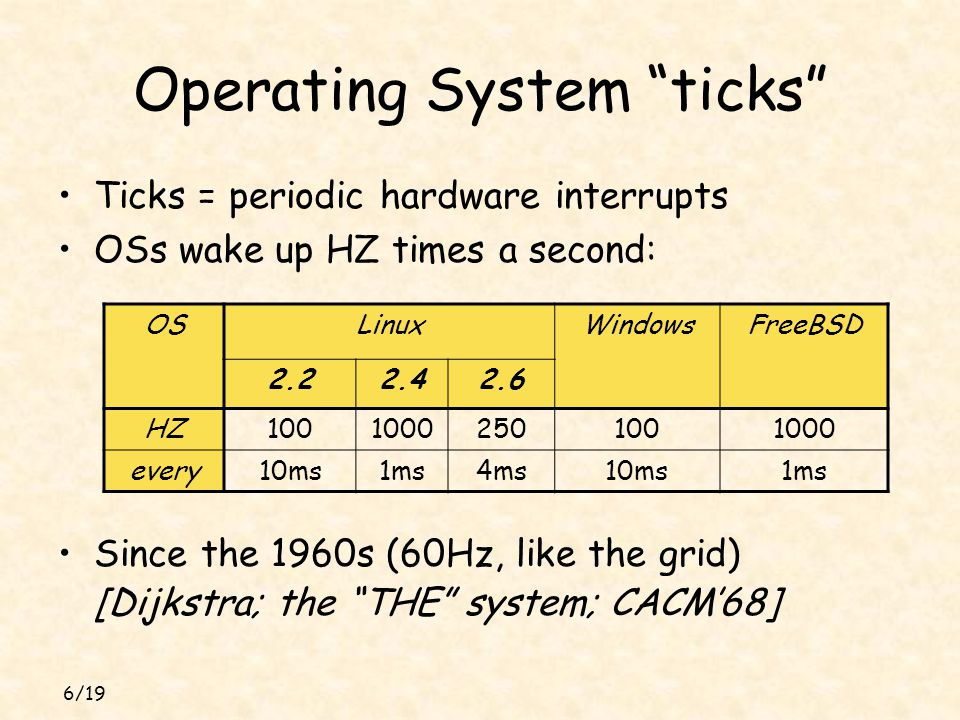 6/19 Ticks = periodic hardware interrupts OSs wake up HZ times a second: Since the 1960s (60Hz, like the grid) [Dijkstra; the THE system; CACM'68] Operating System ticks FreeBSDWindowsLinuxOS 2.62.42.2 10001002501000100HZ 1ms10ms4ms1ms10msevery