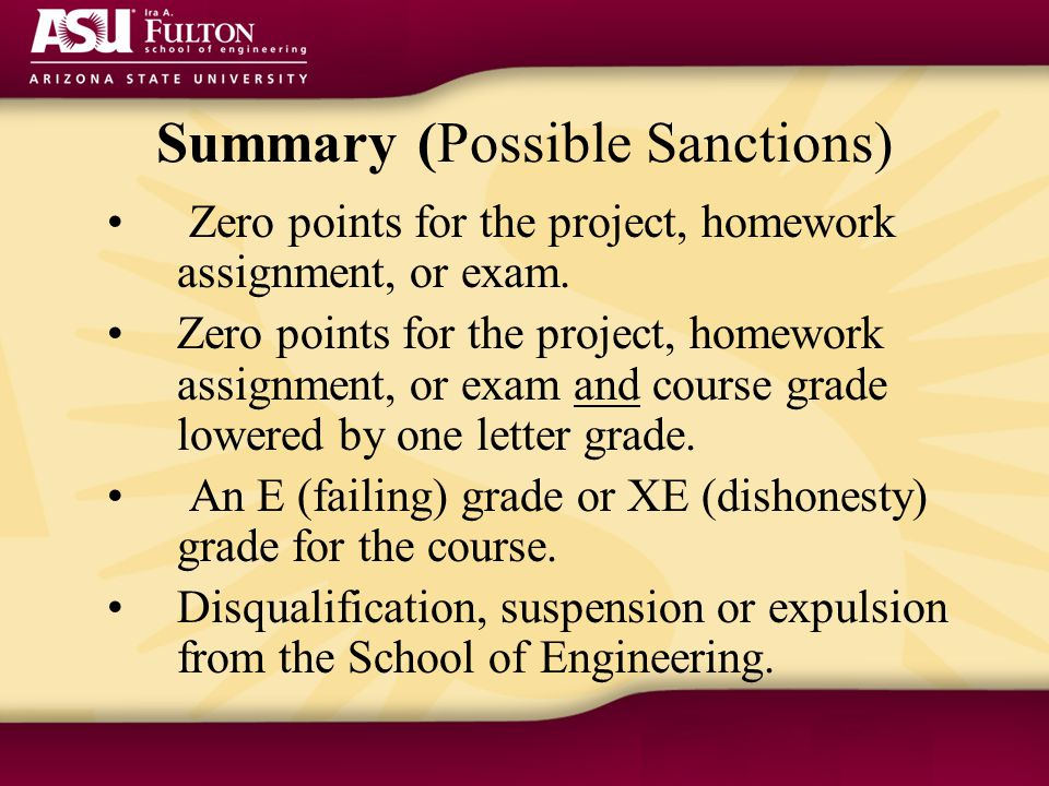 Summary (Possible Sanctions) Zero points for the project, homework assignment, or exam.