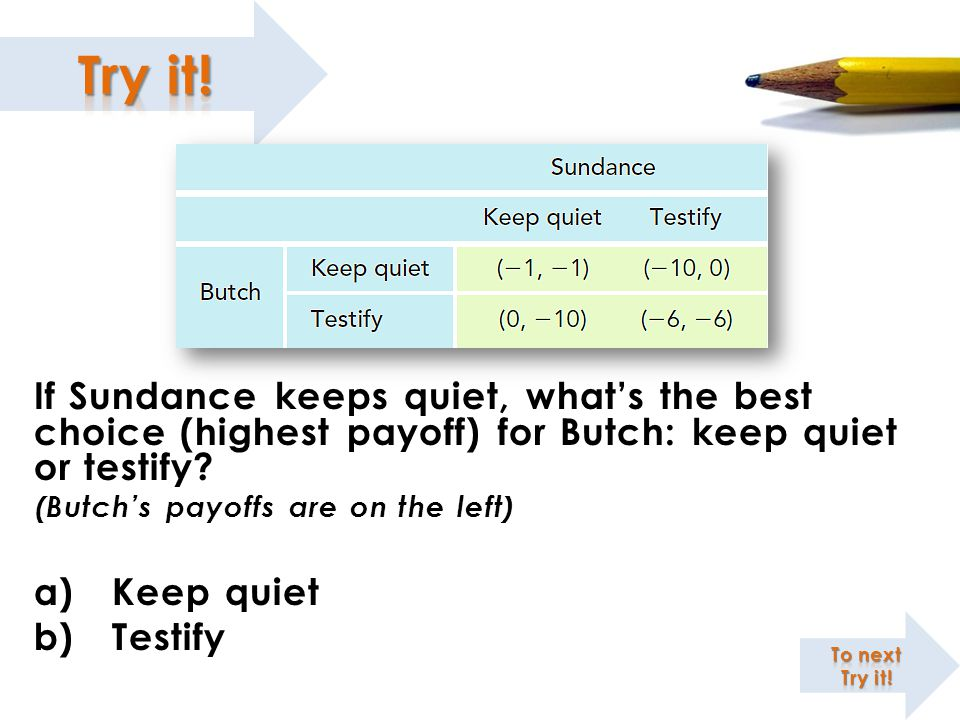 If Sundance keeps quiet, what's the best choice (highest payoff) for Butch: keep quiet or testify.