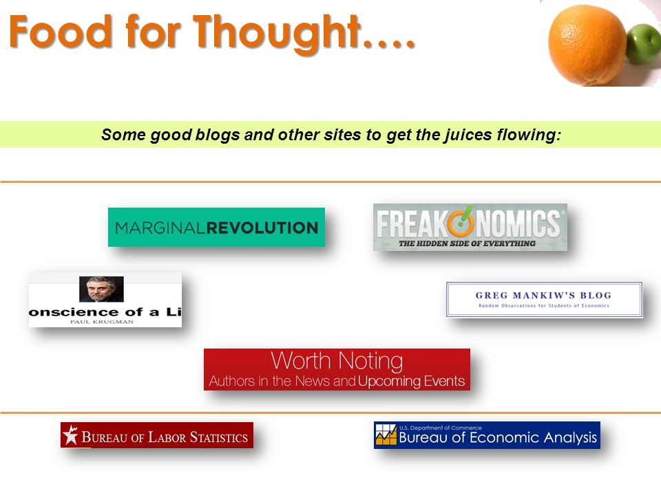 Some good blogs and other sites to get the juices flowing: Food for Thought….