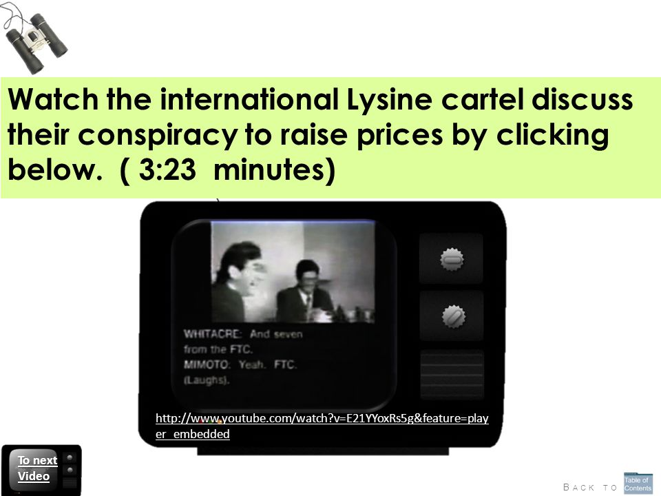 Watch the international Lysine cartel discuss their conspiracy to raise prices by clicking below.