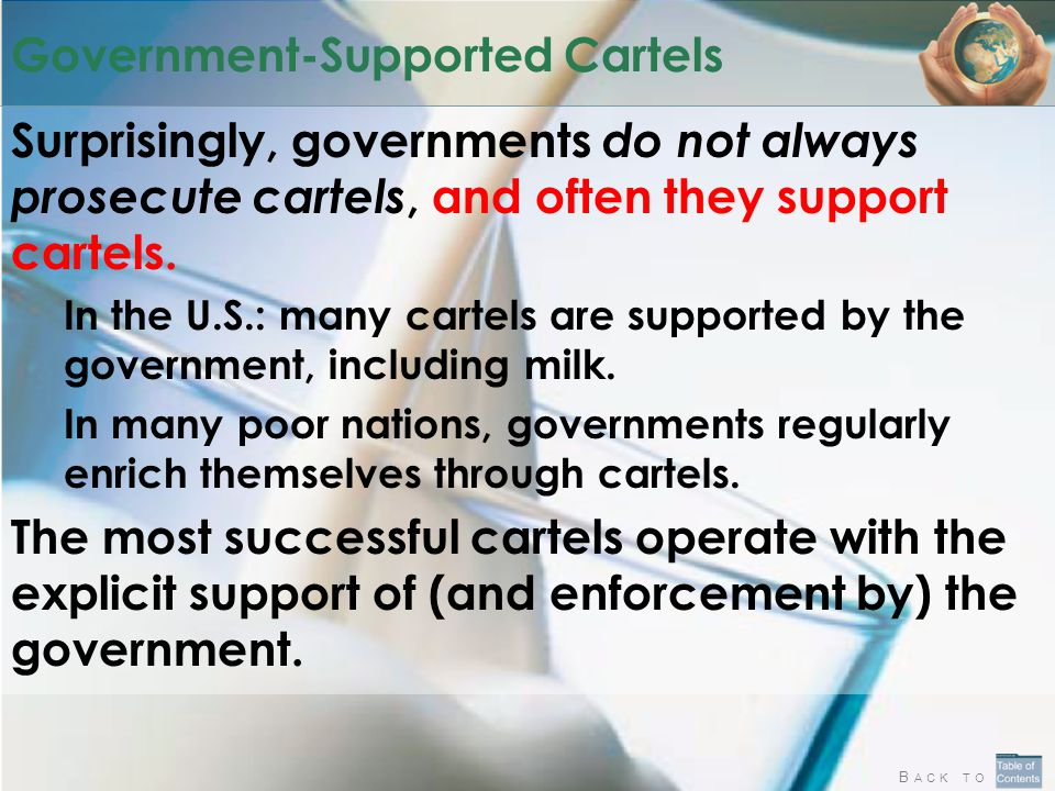 B ACK TO Government-Supported Cartels Surprisingly, governments do not always prosecute cartels, and often they support cartels.