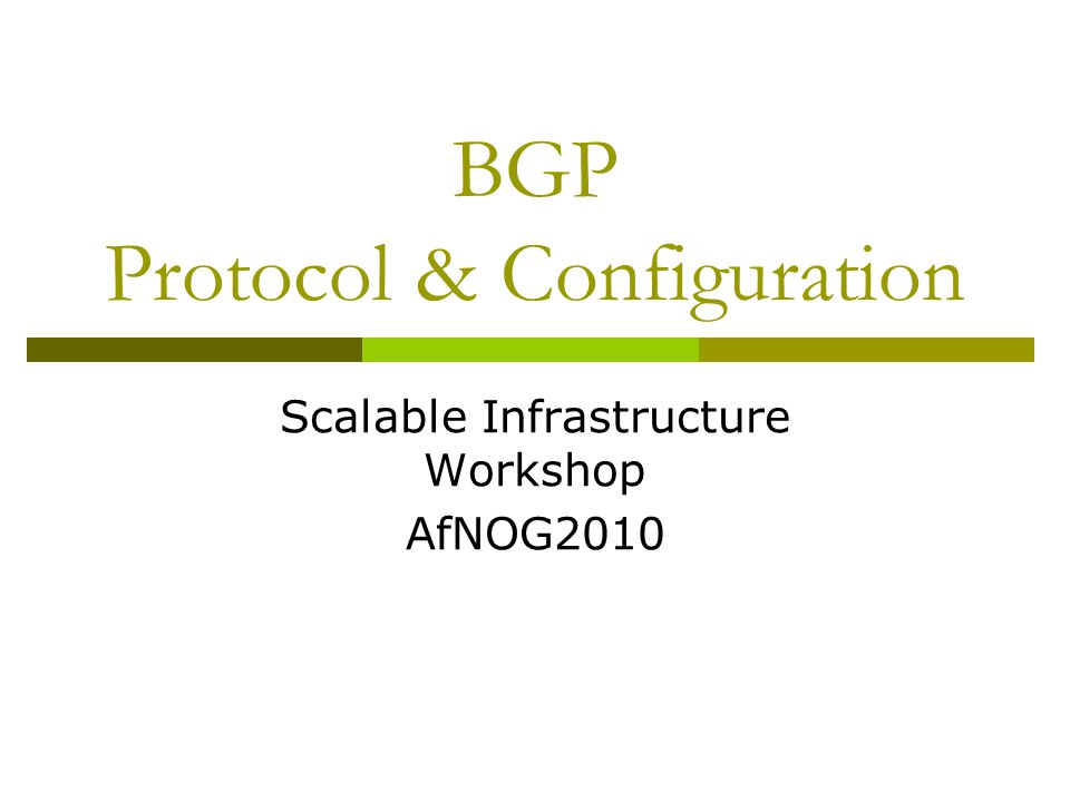 Local Preference  Not used by eBGP, mandatory for iBGP  Default value of 100 on Cisco IOS  Local to an AS  Used to prefer one exit over another  Path with highest local preference wins