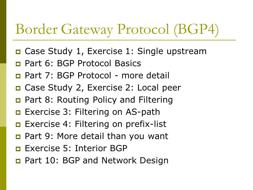 Synchronization  C is not running BGP  A won't advertised 35/8 to D until the IGP is in sync  Turn synchronization off.