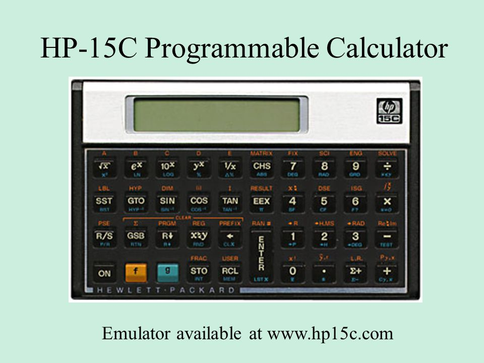 HP-15C Programmable Calculator Emulator available at www.hp15c.com