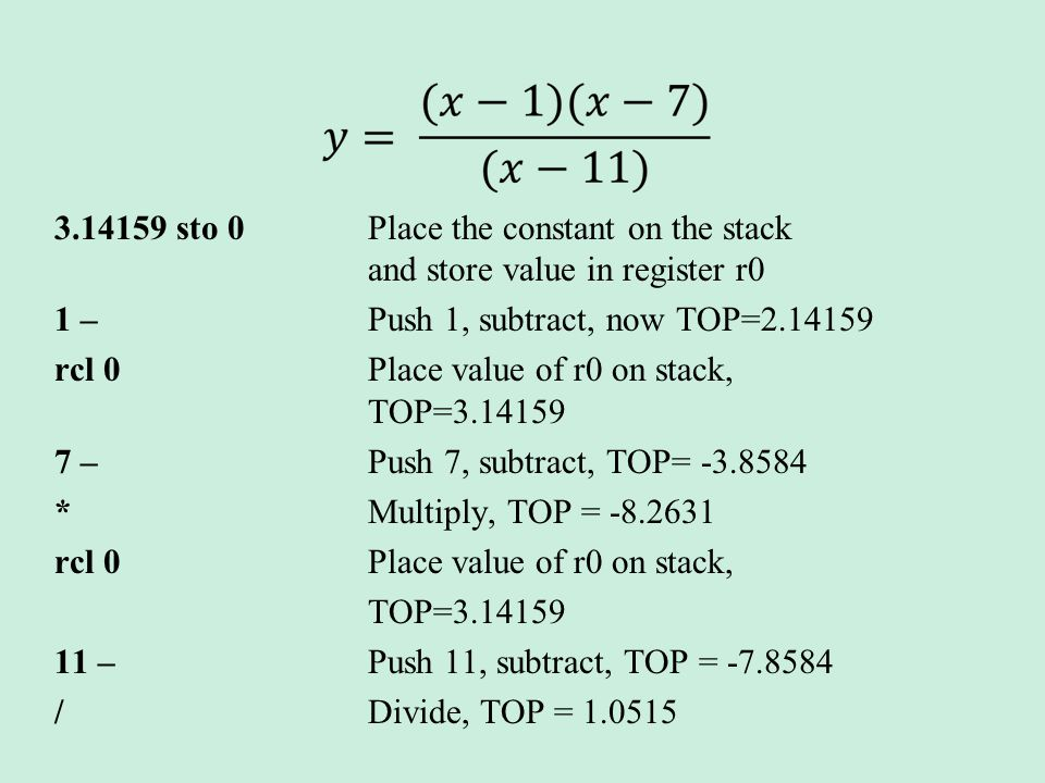 3.14159 sto 0Place the constant on the stack and store value in register r0 1 – Push 1, subtract, now TOP=2.14159 rcl 0 Place value of r0 on stack, TOP=3.14159 7 – Push 7, subtract, TOP= -3.8584 * Multiply, TOP = -8.2631 rcl 0 Place value of r0 on stack, TOP=3.14159 11 – Push 11, subtract, TOP = -7.8584 / Divide, TOP = 1.0515
