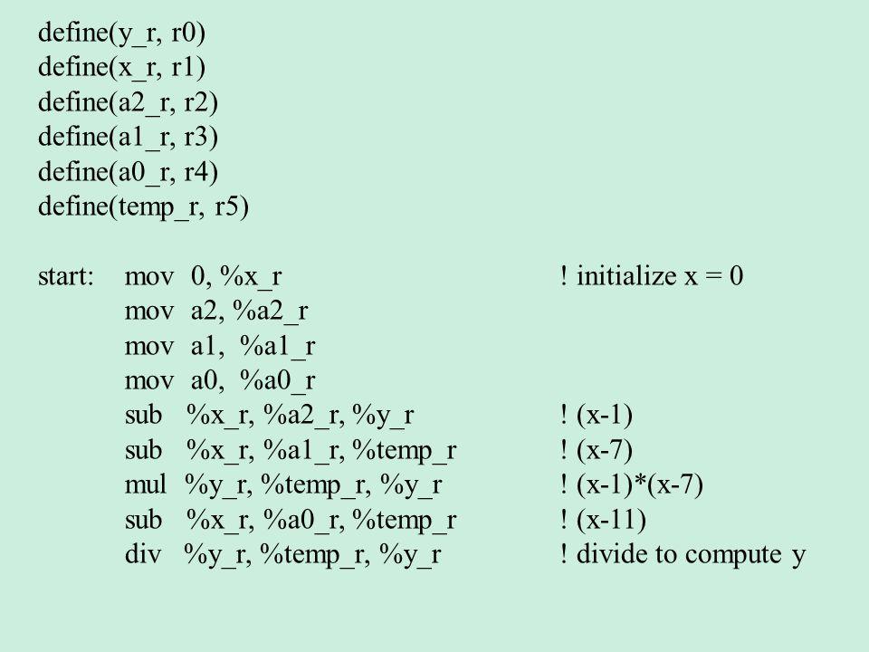 define(y_r, r0) define(x_r, r1) define(a2_r, r2) define(a1_r, r3) define(a0_r, r4) define(temp_r, r5) start: mov 0, %x_r .