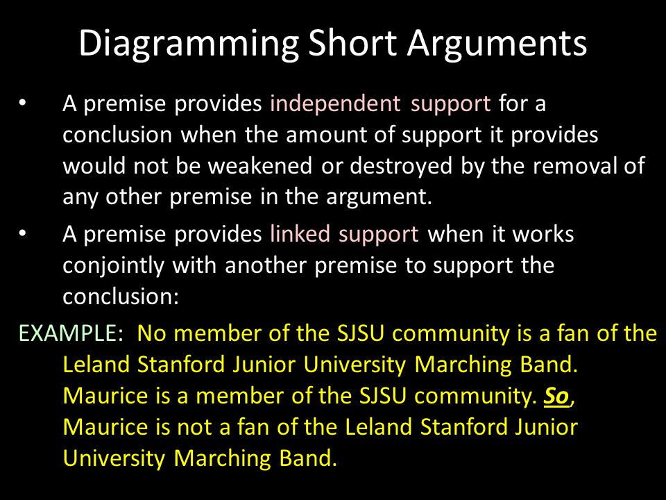 Diagramming Short Arguments A premise provides independent support for a conclusion when the amount of support it provides would not be weakened or de