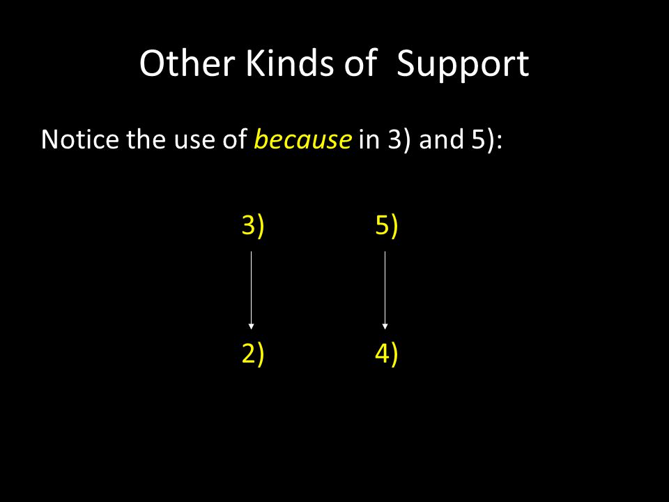 Other Kinds of Support Notice the use of because in 3) and 5): 3)5) 2)4)