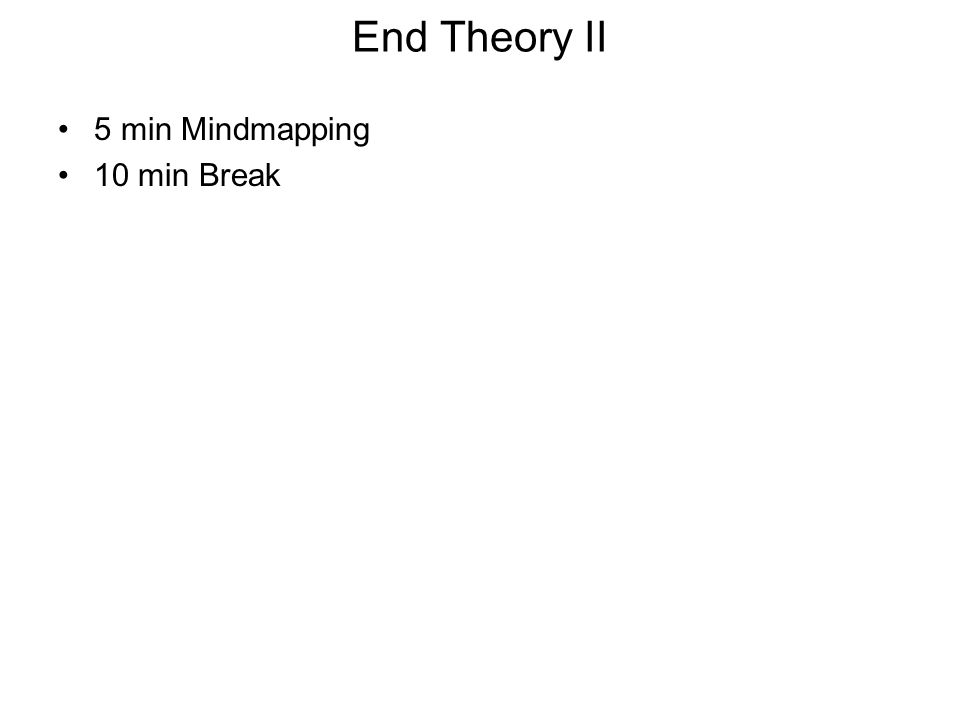 End Theory II 5 min Mindmapping 10 min Break
