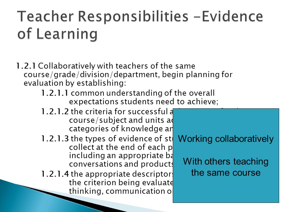 1.2.1 Collaboratively with teachers of the same course/grade/division/department, begin planning for evaluation by establishing: 1.2.1.1 common understanding of the overall expectations students need to achieve; 1.2.1.2 the criteria for successful achievement for the course/subject and units across the four categories of knowledge and skill; 1.2.1.3 the types of evidence of student learning to collect at the end of each period of learning, including an appropriate balance of observations, conversations and products; 1.2.1.4 the appropriate descriptors of effectiveness for the criterion being evaluated in the categories thinking, communication or application; Working collaboratively With others teaching the same course
