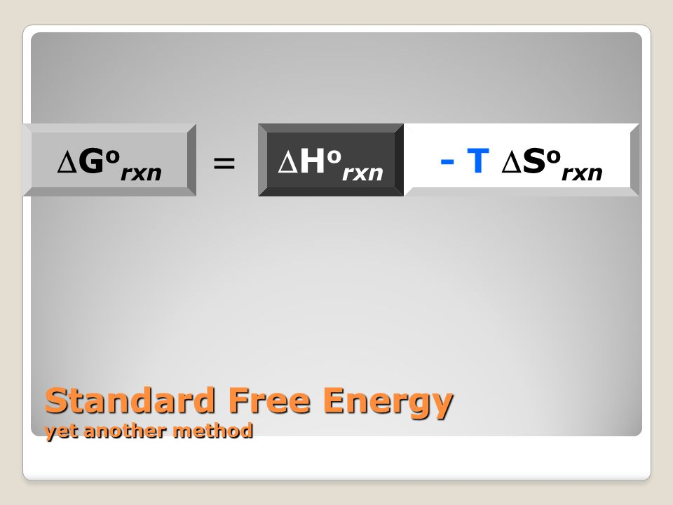 Standard Free Energy yet another method G o rxn H o rxn - T S o rxn =