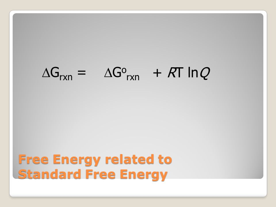 Free Energy related to Standard Free Energy  G rxn =  G o rxn + RT lnQ