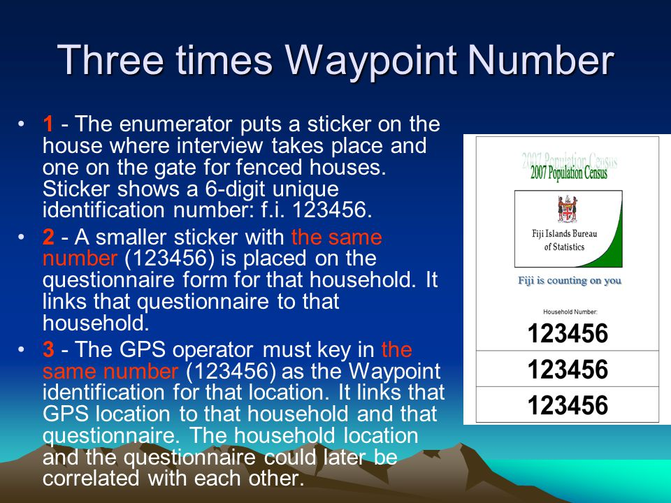 Three times Waypoint Number 1 - The enumerator puts a sticker on the house where interview takes place and one on the gate for fenced houses.