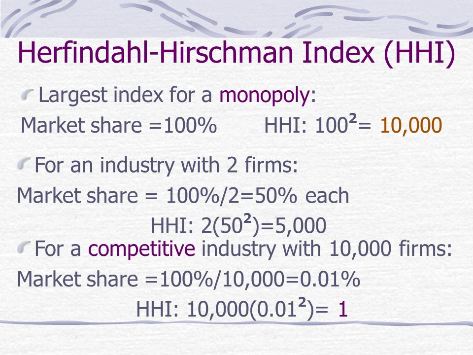 Herfindahl-Hirschman Index (HHI) Largest index for a monopoly: Market share =100% HHI: 100 2 = 10,000 For an industry with 2 firms: Market share = 100%/2=50% each HHI: 2(50 2 )=5,000 For a competitive industry with 10,000 firms: Market share =100%/10,000=0.01% HHI: 10,000(0.01 2 )= 1