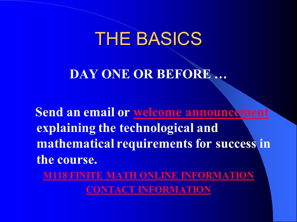 FINITE MATH ONLINE … IT'S NOT YOUR GRANDFATHER'S CORRESPONDENCE COURSE