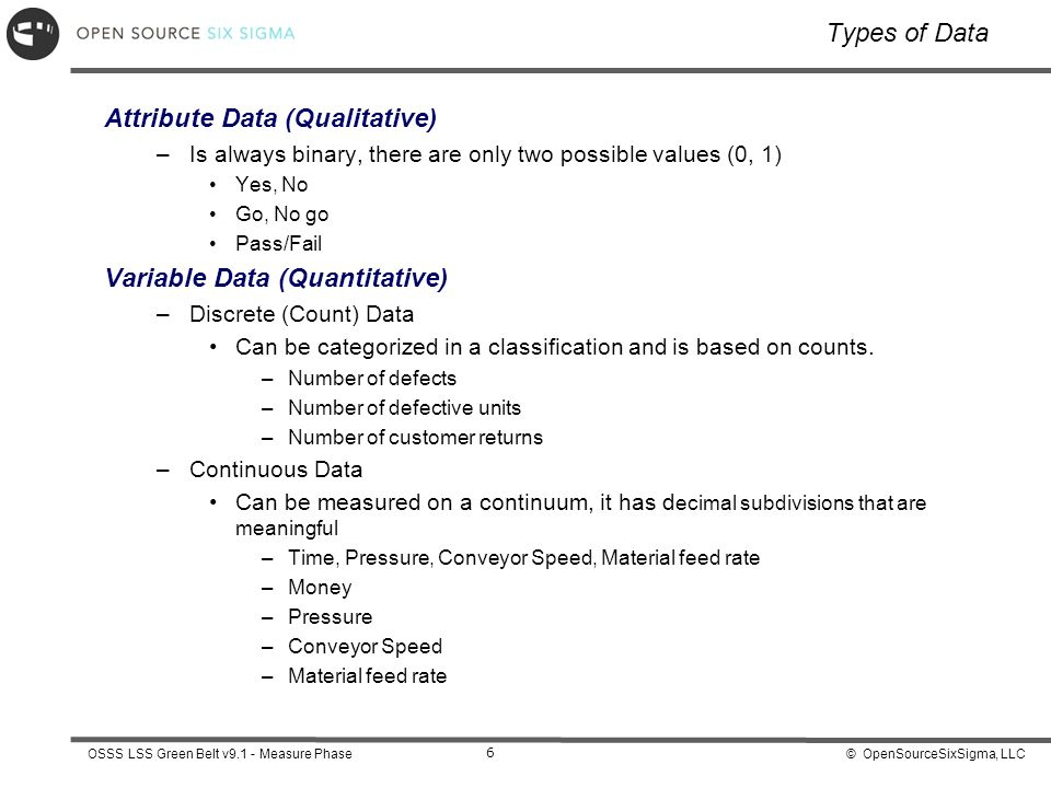 © OpenSourceSixSigma, LLCOSSS LSS Green Belt v9.1 - Measure Phase 6 Types of Data Attribute Data (Qualitative) –Is always binary, there are only two possible values (0, 1) Yes, No Go, No go Pass/Fail Variable Data (Quantitative) –Discrete (Count) Data Can be categorized in a classification and is based on counts.