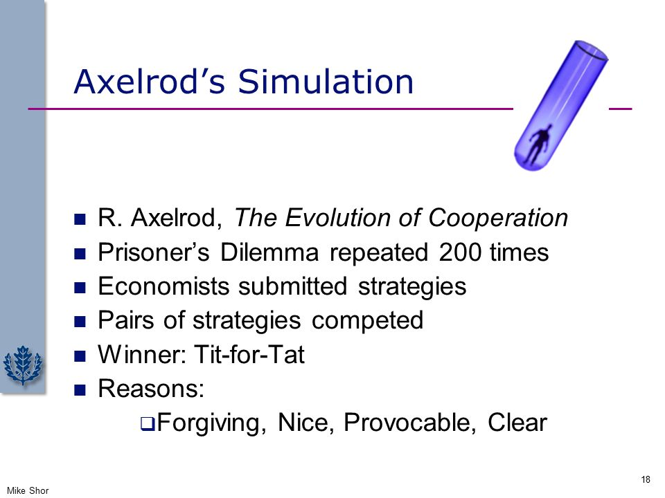 Axelrod's Simulation R.