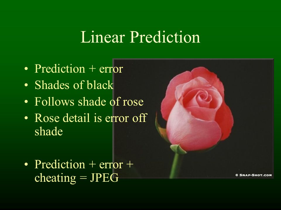 Linear Prediction Prediction + error Shades of black Follows shade of rose Rose detail is error off shade Prediction + error + cheating = JPEG