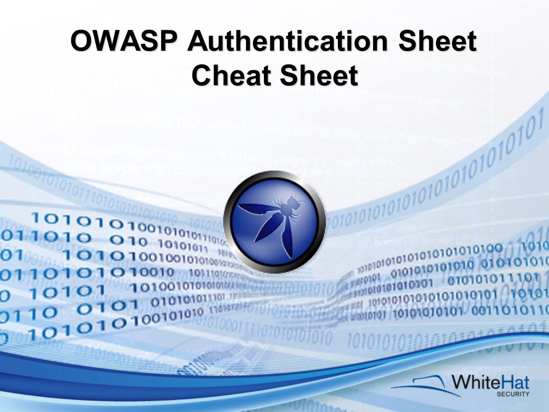 OWASP Authentication Sheet Cheat Sheet