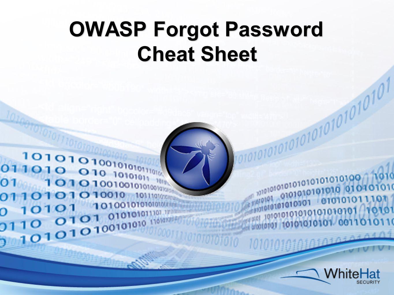 OWASP Forgot Password Cheat Sheet