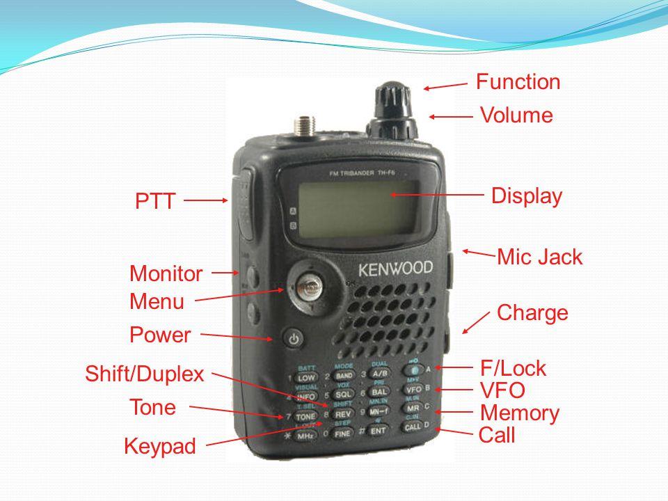 Function Volume PTT Menu Power Monitor F/Lock VFO Memory Call Keypad Display Mic Jack Charge Shift/Duplex Tone