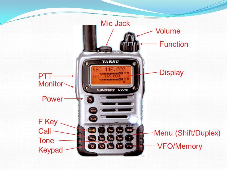 PTT Power Display Volume Function VFO/Memory F Key Monitor Mic Jack Keypad Menu (Shift/Duplex) Tone Call