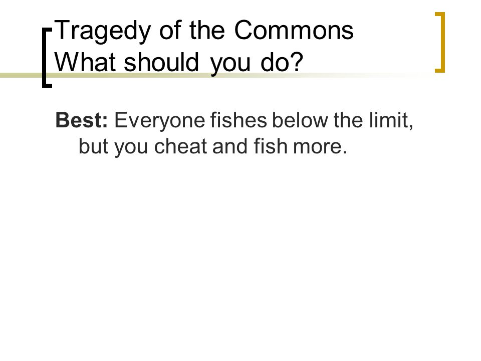 Tragedy of the Commons What should you do.