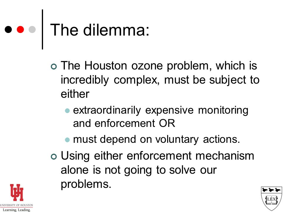 The Houston ozone problem, which is incredibly complex, must be subject to either extraordinarily expensive monitoring and enforcement OR must depend on voluntary actions.