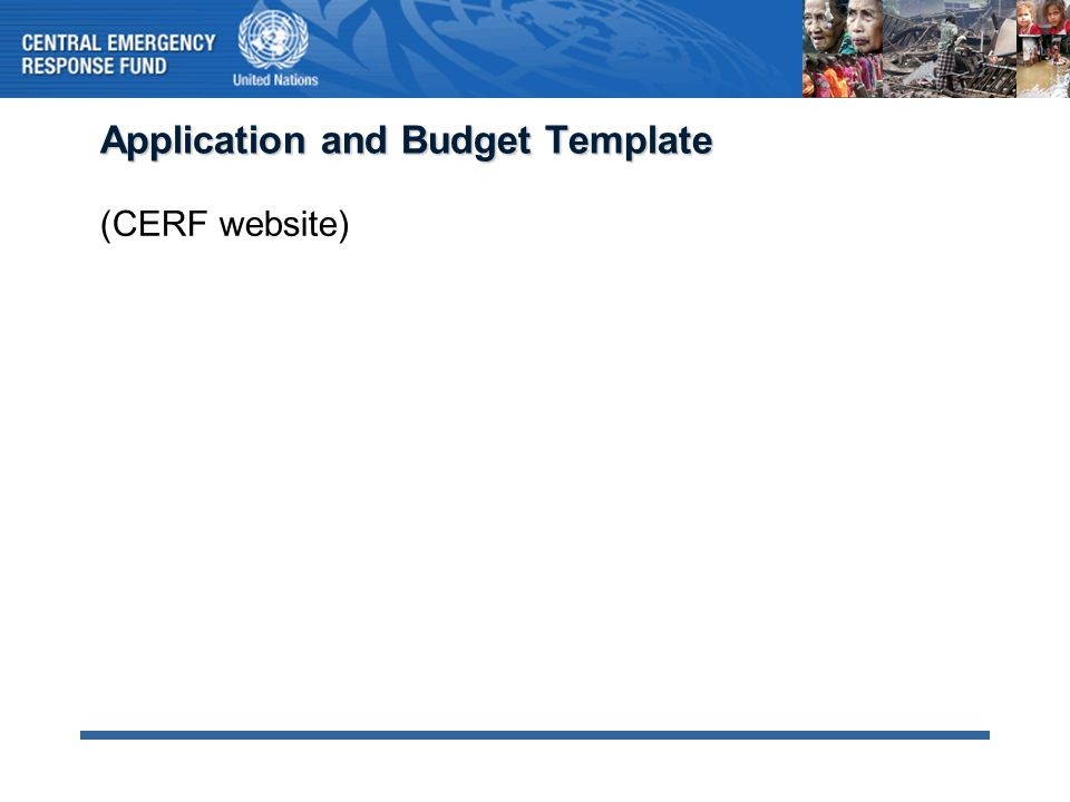 Application and Budget Template (CERF website)