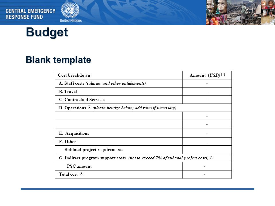 Budget Blank template Cost breakdown Amount (USD) [1] A. Staff costs (salaries and other entitlements)- B. Travel- C. Contractual Services- D. Operati
