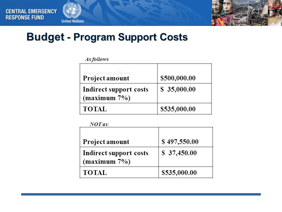 Budget - Program Support Costs Please calculate as follows: Project amount$500,000.00 Indirect support costs (maximum 7%) $ 35,000.00 TOTAL$535,000.00