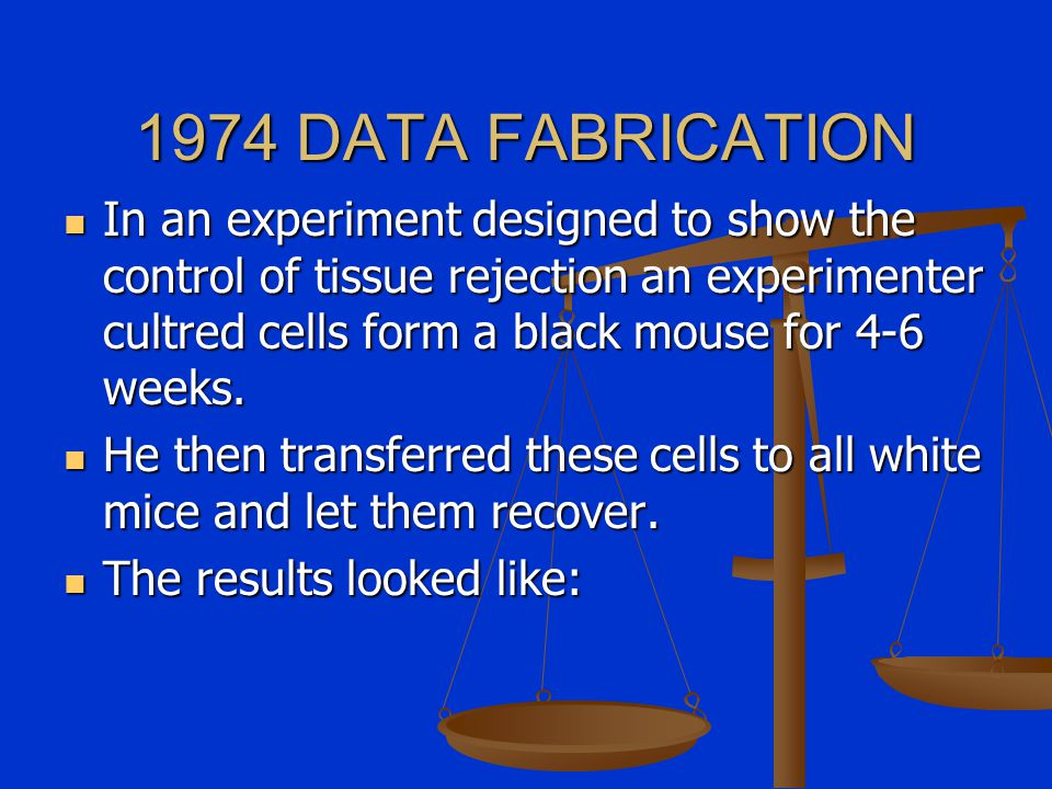 1974 DATA FABRICATION In an experiment designed to show the control of tissue rejection an experimenter cultred cells form a black mouse for 4-6 weeks