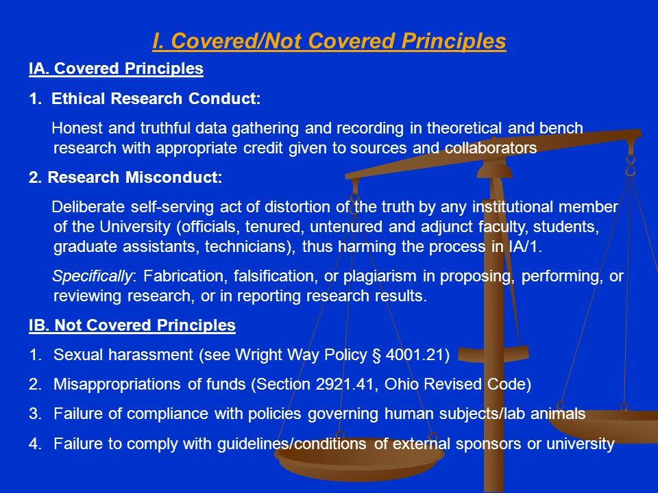 I. Covered/Not Covered Principles IA. Covered Principles 1. Ethical Research Conduct: Honest and truthful data gathering and recording in theoretical